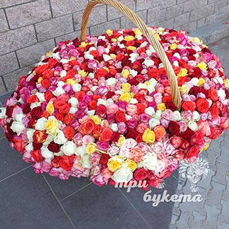 1001 разноцветная роза в корзине