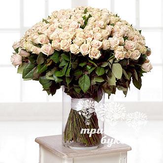 Букет из 201 кремовой розы